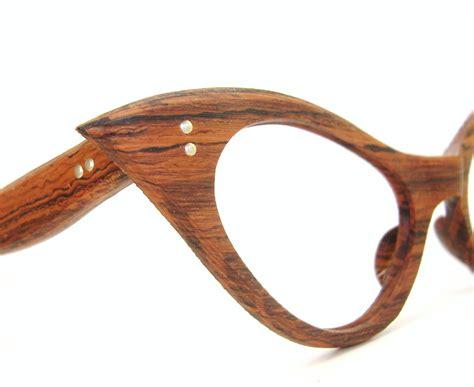 unique glasses vintage cat eye eyeglasses frame unique wood grain look nos