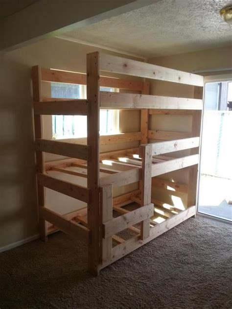 simple triple bunk bed plans ladder   short
