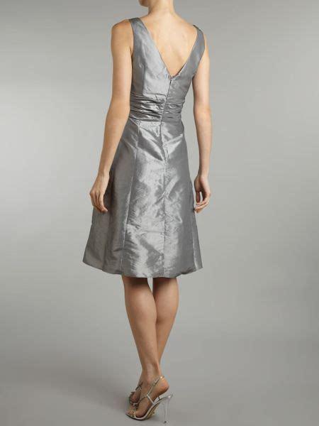 Js Vneck js collections vneck prom dress in silver lyst