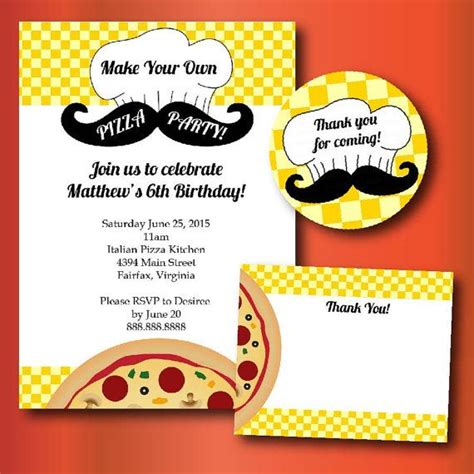 California Pizza Kitchen Birthday by Make Your Own Pizza Birthday Printable Invitations