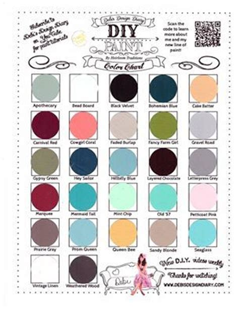 debi s diy paint colour chart diy paint color combinations and inspriation