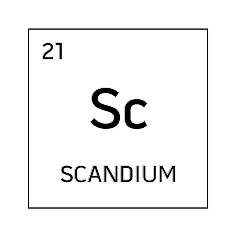 black and white element cell for scandium science notes