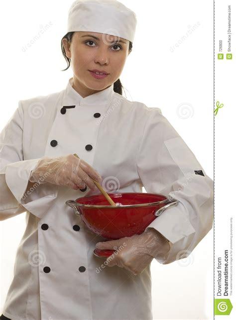 femme chef cuisine chef avec des ustensiles de cuisine photo stock image