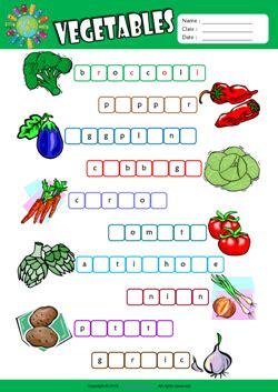 5 Letter Words Vegetable vegetables missing letters in words esl vocabulary