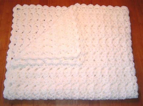 Handmade Crochet Baby Blanket - handmade white crocheted baby blanket afghan by