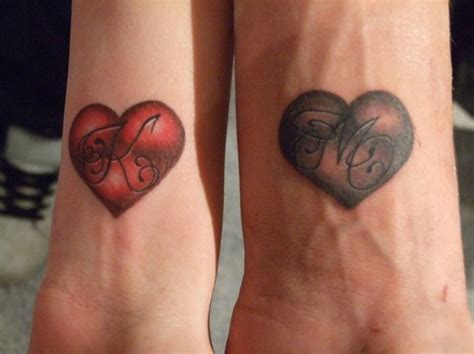 2 hearts tattoo designs with initials busbones