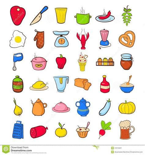 doodle food icons set food icons set stock image image 37075201
