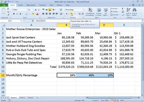format excel percentage how to apply the percent number format in excel 2010 dummies
