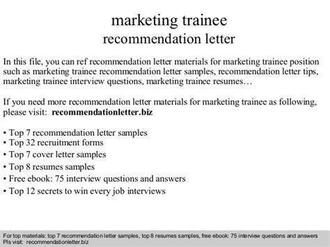Reference Letter For Trainee Marketing Trainee Recommendation Letter