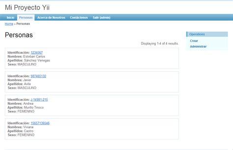 tutorial de yii framework en español yii framework en espa 241 ol listado de todos los datos