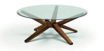 Specially made round glass top coffee table