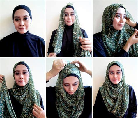 tutorial hijab pashmina rabbani cara memakai jilbab pashmina sifon modern
