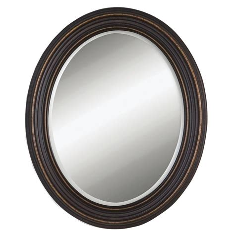 oval mirror with bronze color frame wall mirror bathroom global direct 34 in x 28 in rubbed bronze wood oval
