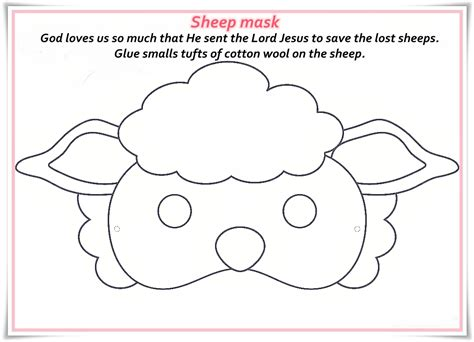 free printable sheep mask template lamb face coloring page hd images