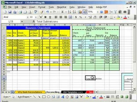 use diagram exle for bank excel busn math 37 bank reconciliation