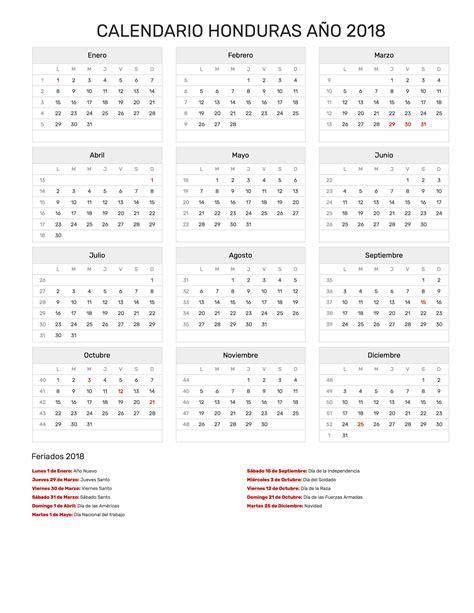 Calendario 2018 Para Imprimir Con Feriados Calendario Honduras A 241 O 2018 Feriados