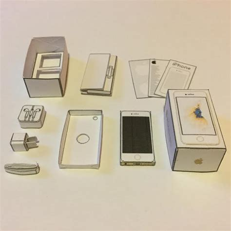 Papercraft Boxes - papercraft gold iphone 6s and box