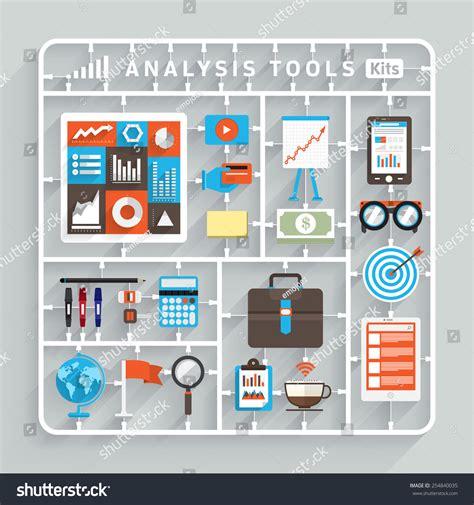 pattern modeling analysis tool vector flat design model kits analysis stock vector