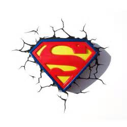 Boys Bedroom Lights - superman logo 3d led deco wall night light amp sticker ebay