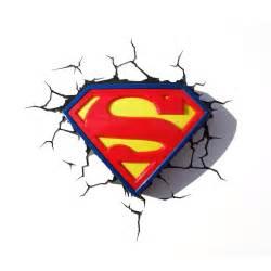 Details about superman logo 3d led deco wall night light amp crack