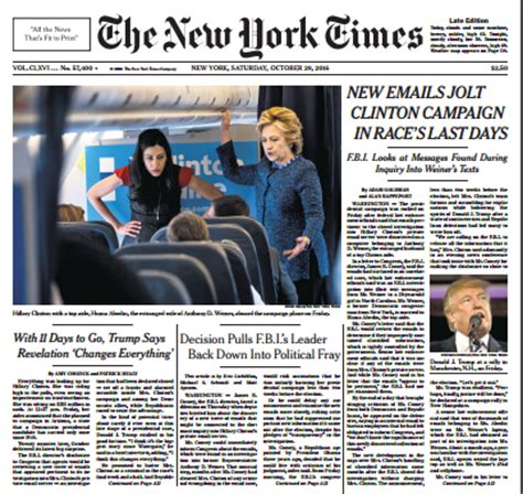 ny times floods front page with fbi letter stories while