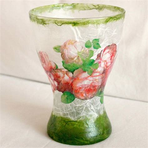 Decoupage Vase - glass vase decoupage with mullberry paper decoupage