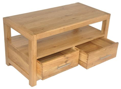 Oak Coffee Tables With Drawers Solid Wood Interiors Gt Solid Oak Coffee Table With 2 Drawers