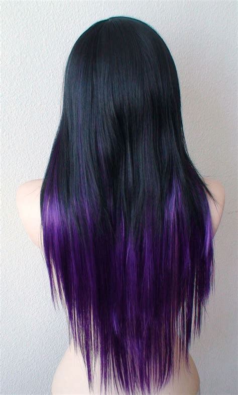 black purple ombre long straight layered hairstyle wig