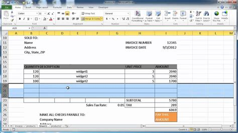 how to create a template in excel create an invoice in excel 2010
