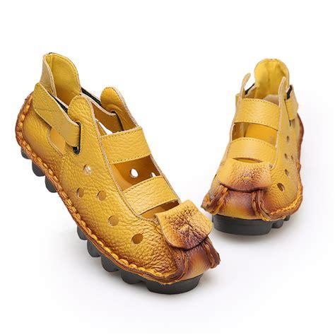2016 Retro Shoe For Handmade - 2016 summer new soft bottom flat genuine leather