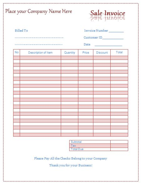 Sale Invoice Template Easy Invoice Building Microsoft Word Sales Invoice Template