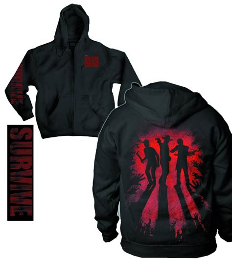 Hoodie The Walking Dead 2 walking dead survive silhouette zip hoodie amazing stories comics