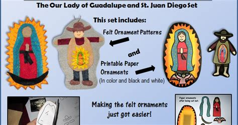o l of guadalupe and st juan printable craft set plus
