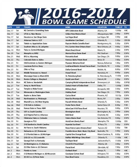 printable bowl games printable bowl schedule templates 9 free pdf format