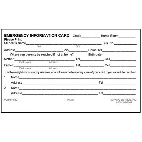 school emergency contact card template r52c rolodex emergency information card rolodex cards