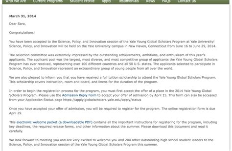 Acceptance Letter Yale Yale Global Scholars Program By Taketatsu