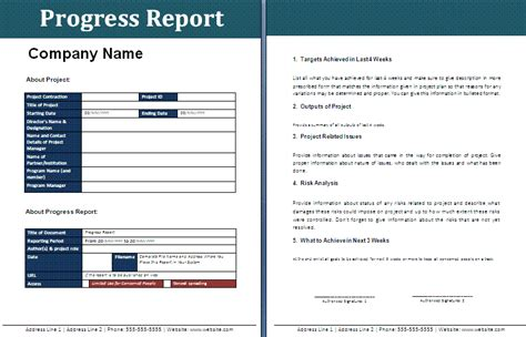 progress report template progress report free reports