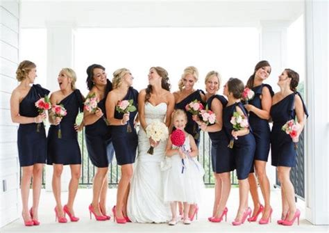 navy coral lovely wedding day after nursing school