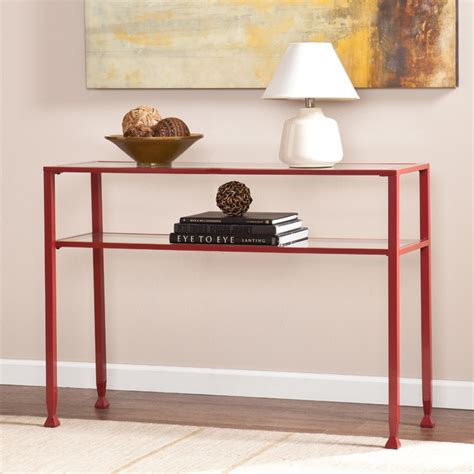 metal and glass sofa table upton home red metal and glass sofa console table