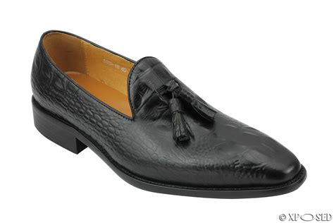 snakeskin loafers new black real leather snakeskin look tassel