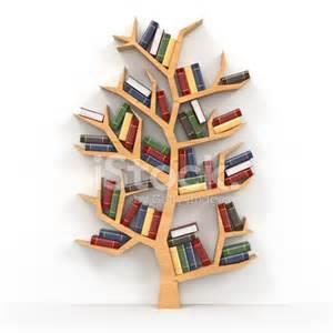 Tree Shaped Bookshelves Books On Tree Shaped Bookshelf On White Background Stock