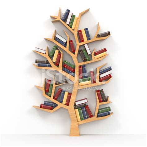 books on tree shaped bookshelf on white background stock