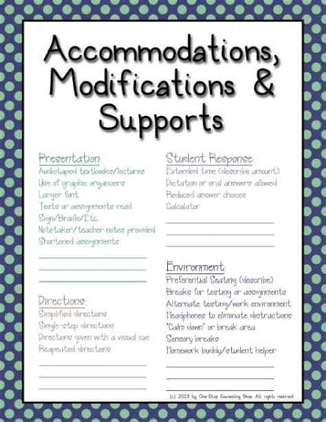 receipt of special education accommodations template accommodations modifications iep sheet