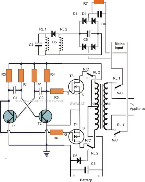 car inverter circuit diagram single transformer inverter charger changeover circuit