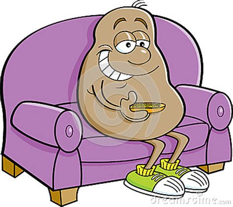 cartoon sitting on couch cartoon potato sitting on a couch stock vector image
