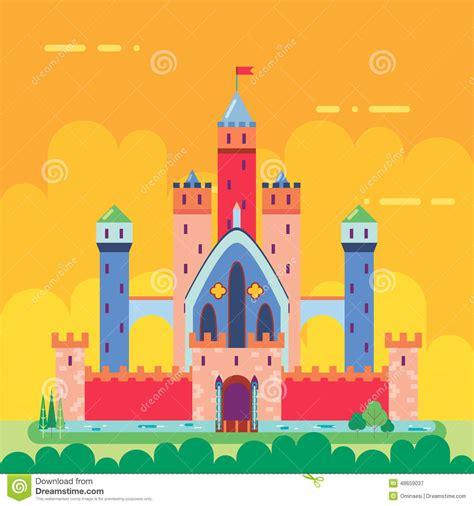 Magic Card Template Vector by Magic Fairytale Castle Flat Design Icon Stock