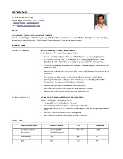 Production Planner Resume by Sr Engg Production Planning Resume