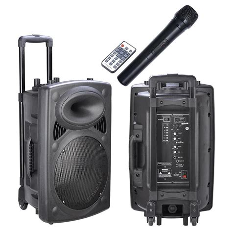 Usb Speaker 12 quot professional powered active 1200w dj pa speaker bluetooth usb remote rolling ebay
