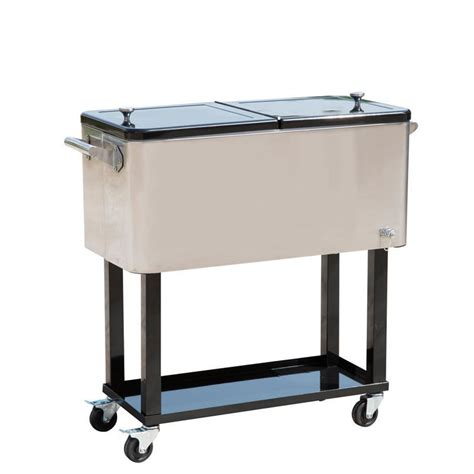 Patio Beverage Cooler Cart by Outdoor Patio Portable Cooler Cart 80 Quart