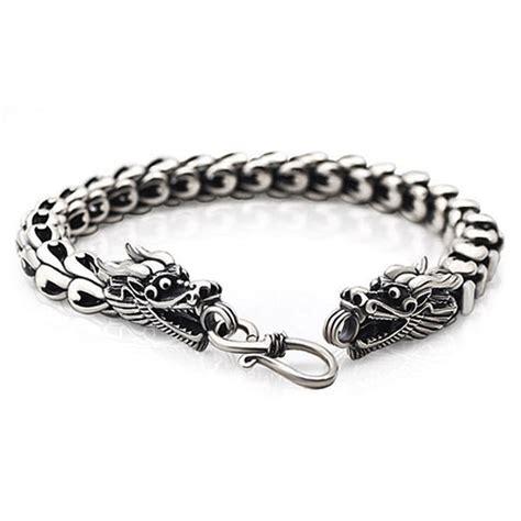 Bracelet homme argent massif dragon double tete   BijouxStore   webid:1178